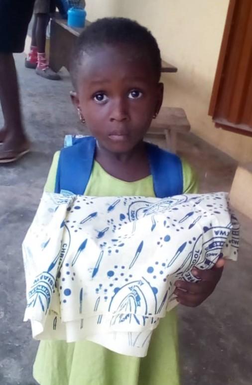Hamida's little angel has her uniform material