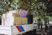 Our lorry of supplies arrives at the police compound at Akkaraipottu