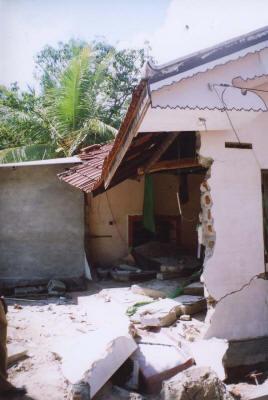 Showing typical Tsunami damage to a home (Jan 2005)